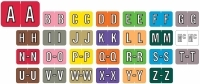 "Barkley ABKM Alpha Labels, Laminated, 1"" X 1-1/2"", Individual Letters - Roll of 500"