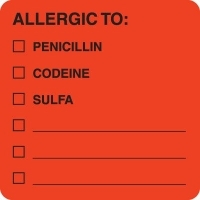 "MAP4890 - ALLERGIC TO: - Fl Red 2"" X 2"" (Roll of 250)"