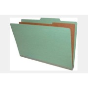 Type II Pressboard Classification Folders, Top Tab, Legal Size, 1 Divider, Fasteners Pos. 1 & 3 (Box of 10)