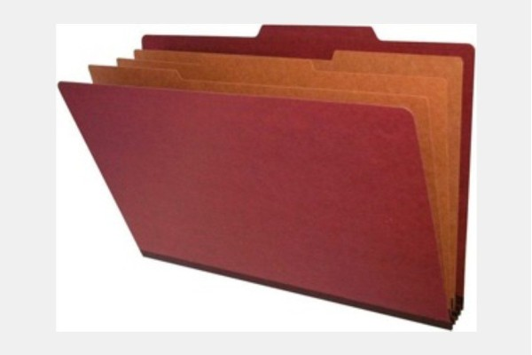 Type III Pressboard Classification Folders, Top Tab, Legal Size, 3 Dividers, Fasteners Pos. 1 & 3 (Box of 10)
