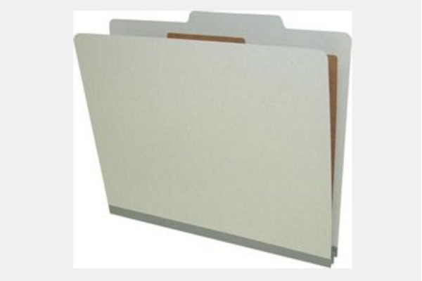 Type II Pressboard Classification Folders, Top Tab,  Letter Size, 1 Divider, Fasteners Pos. 1 & 3 (Box of 10)