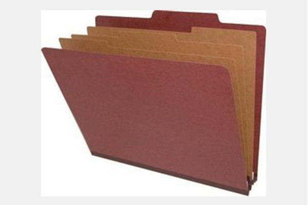 Type II Pressboard Classification Folders, Top Tab,  Letter Size, 3 Dividers, Fasteners Pos. 1 & 3 (Box of 10)