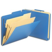 SMEAD Poly Classification Folders (Blue), 2/5 Cut Top Tab, Two Dividers, Letter Size (Box of 10)