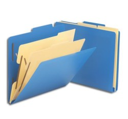 SMEAD Poly Classification Folders (Blue), 2/5 Cut Top Tab, Two Dividers, Letter Size (Box of...