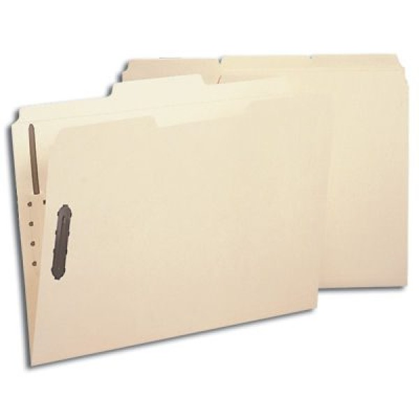 SMEAD Poly File Folders (Manila), 1/3 Cut Top Tab - Assorted, 2 Fasteners, Letter Size (Box of 24)