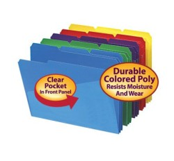 SMEAD Poly File Folders with Slash Front Pocket (Colors), 1/3 Cut Top Tab - Assorted, Letter...