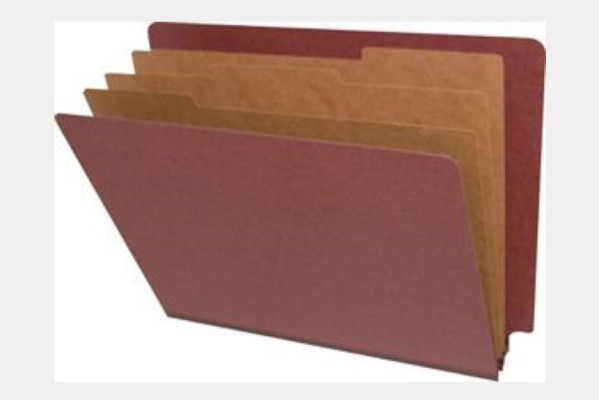 Type I Pressboard Classification Folders, Full Cut End Tab,   Letter Size, 3 Dividers, Fasteners Pos. 1 & 3 (Box of 10)