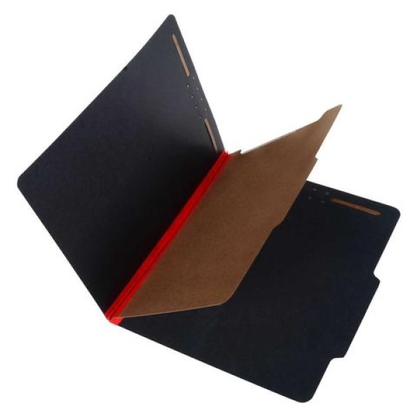 25 Pt. Fushion Black Pressboard Classification Folders, 2/5 Cut ROC Top Tab, Letter Size, 1 Divider, Red Tyvek (Box of 20)