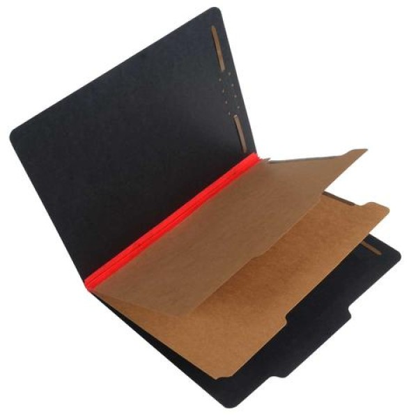 25 Pt. Fushion Black Pressboard Classification Folders, 2/5 Cut ROC Top Tab, Letter Size, 2 Dividers, Red Tyvek (Box of 15)