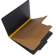 25 Pt. Fushion Black Pressboard Classification Folders, 2/5 Cut ROC Top Tab, Letter Size, 2 Dividers, Yellow Tyvek (Box of 15)