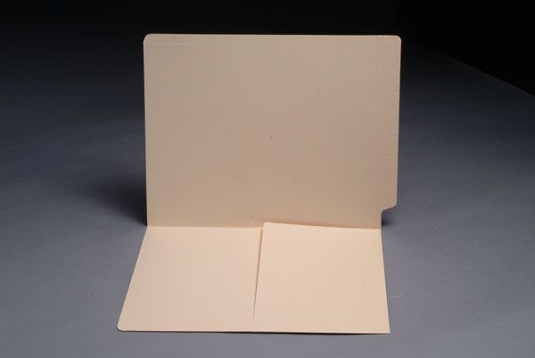 14 pt Manila Folders, Full Cut End Tab, Letter Size, 1/2 Pocket Inside Front (Box of 50)