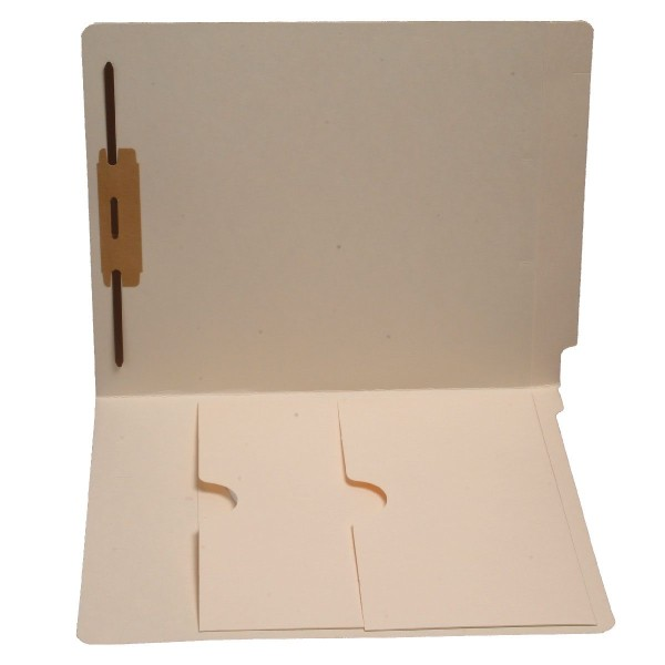 11 pt Manila Folders, Full Cut End Tab, Letter Size, Double Pockets Inside Front, Fastener Pos. 1 (Box of 50)
