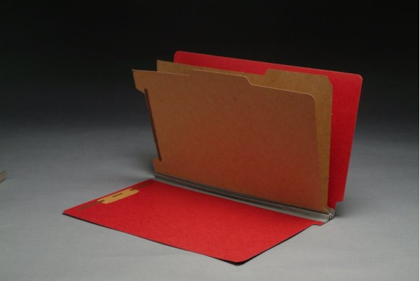 Type III Pressboard Classification Folders, Full Cut End Tab, Legal Size, 2 Dividers, Fasteners Pos. 1 & 3 (Box of 10)