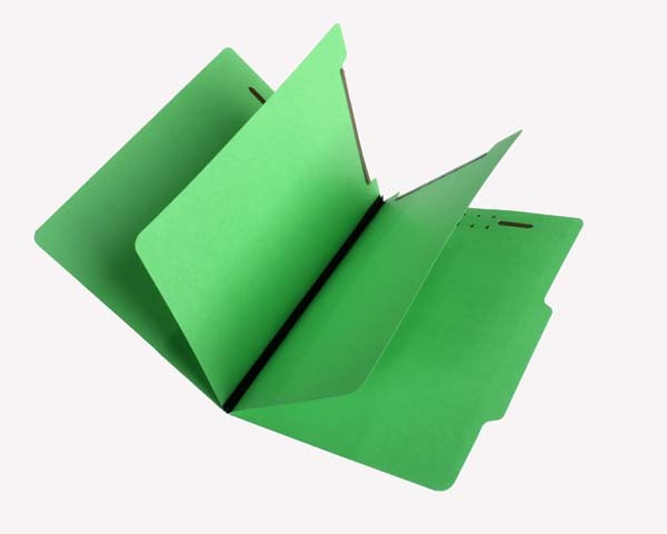 15 Pt.   Green Classification Folders, 2/5 Cut Top Tab, Letter, 2 Dividers (Box of 25)