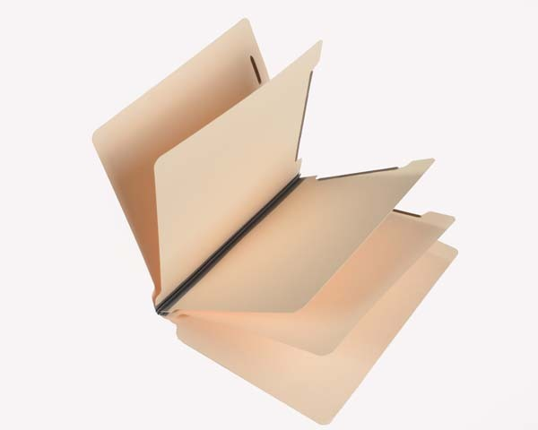 15 Pt. Manila Classification Folders, Letter, 3 Dividers, Fasteners Pos. 1 & 3 (Box of 15)