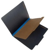 25 Pt. Fushion Black Pressboard Classification Folders, 2/5 Cut ROC Top Tab, Letter Size, 1 Divider, Cerulean Blue Tyvek (Box of 20)