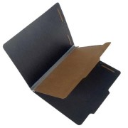 25 Pt. Fushion Black Pressboard Classification Folders, 2/5 Cut ROC Top Tab, Letter Size, 1 Divider, Gray Tyvek (Box of 20)