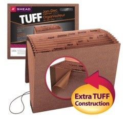 Smead 70388 TUFF Expanding File, Monthly (Jan.-Dec.), 12 Pockets, Flap and Elastic Cord Clos...