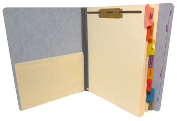 Pressboard Folder with Divider Set and Manila Pocket Installed